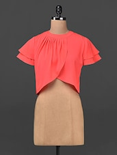 Coral Asymmetric Overlap Crop Top - Ridress