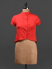 Solid Red Button Down Crop Top - Ridress