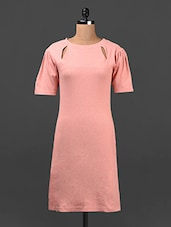 Solid Salmon Pink Cut-out Shift Dress - Ridress