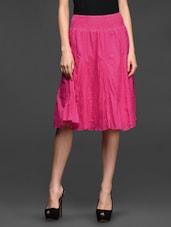 Pink Cotton Elastic Waist Knee Length Skirt - Studio West
