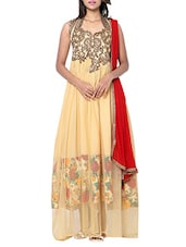 Beige net, bhagalpuri silk embroidered stitched suit -  online shopping for Stitched Suits