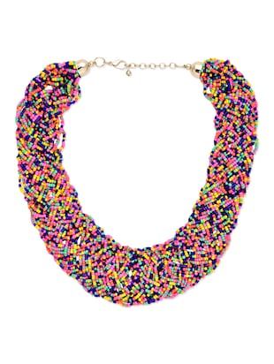 Multi color twists and turns short necklace