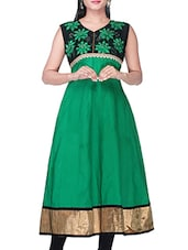 Green & Black Cotton Long  Kurta - By