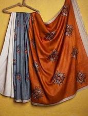 Orange And Grey Tussar Silk Saree - Kamaniya