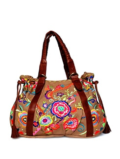 Floral Embroidered Beige Tote - Shaun Design