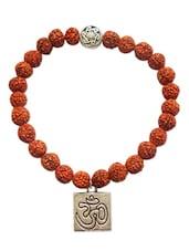 Rudraksha Bracelets Om Charm 5 Faced 5 Mukhi Small Rare Original Rudraksh Jewellery Beautiful Alloy Om Charm Bracelets For Men A - By