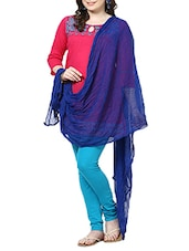 Royal Blue Chiffon Plain  Dupatta - By