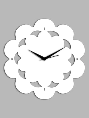 white Floral pattern wall clock