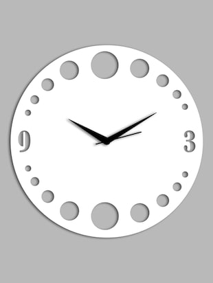 white Circular cut work wall clock