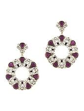 Filigree Pattern Purple Stone Embellished Earrings - JEWELIZER