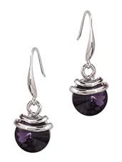 Metal Enwrapped Purple Stone Embellished Earrings - JEWELIZER