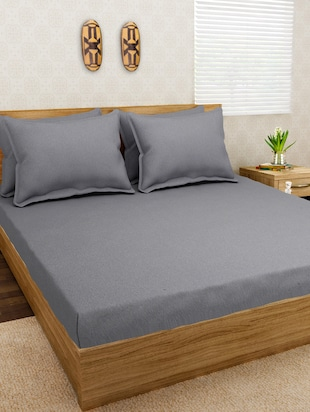 Jersey Dreams Grey Knit Fitted Bedsheet Set