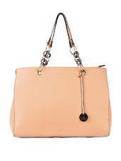 Gorgeous Beige Chain Detailed Tote - Diana Korr