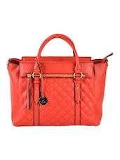 Red Quilted Structured Tote - Diana Korr