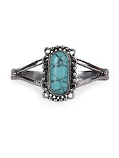 Blue Metal Alloy With Stone Ring - Fashionography