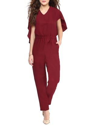 Maroon Solid Cape Jumpsuit