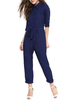 Navy Solid Collared Jumpsuit