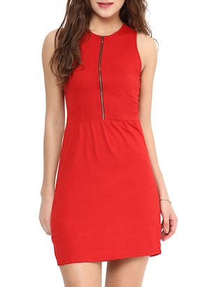 Red Solid Sleeveless Jersey Dress