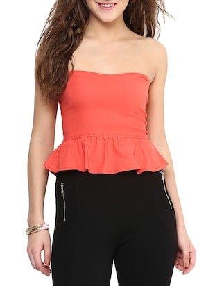 Orange Strapless Shaped Tube Top