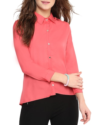 Coral Solid Casual Collared Shirt