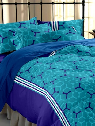 Home Ecstasy 100% Cotton 104TC  Blue Geometric Double Bedsheet with 2 pillow covers
