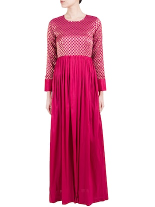 Pink raw silk maxi dress