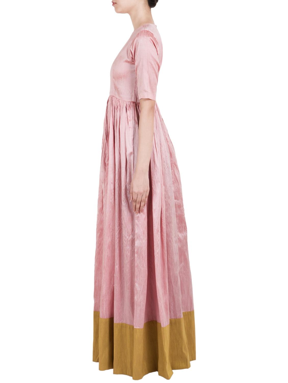Buy Rose Quartz Raw Silk Maxi Dress by Truebrowns - Online shopping ...
