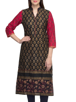 black cambric block printed straight kurta