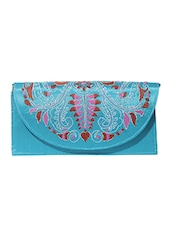 Turquoise Kantha Embroidered Fabric Sling Bag - By - 10161757
