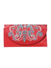 Red Kantha Embroidered Fabric Sling Bag - By