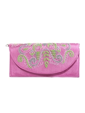 Pink Kantha Embroidered Fabric Sling Bag - By
