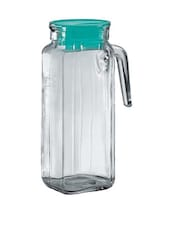 Transparent square shaped glass jug with green lid -  online shopping for Decanters