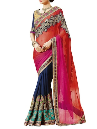 IndianEfashion  Maroon and Blue faux Georgette Embroidery Sarees