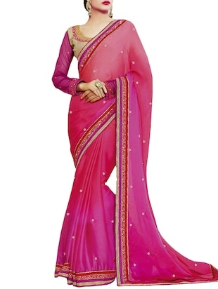 IndianEfashion  Maroon faux Georgette Embroidery Sarees