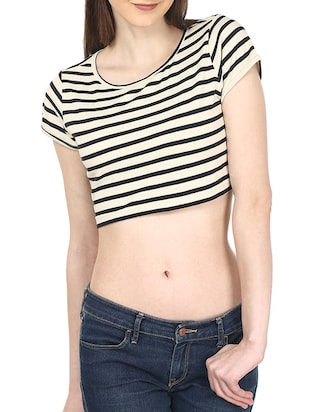 off white black colored stripes cotton crop top