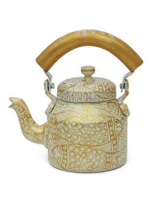 White and Gold Painted Tea Kettle