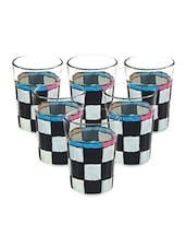 Black And White Checker Tea Glasses (Set Of 6) - By