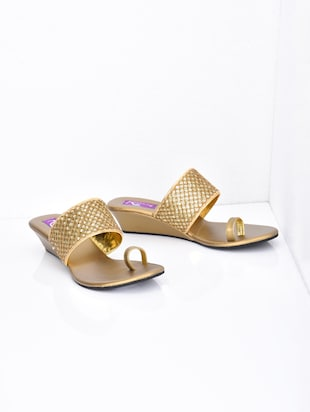 Gold sequined faux leather wedges