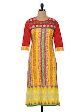 Yellow & Red Printed Cotton Kurta - SHREE