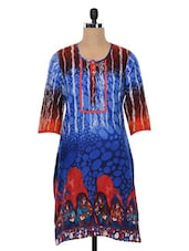 Blue Quarter Sleeves Printed Cotton Kurta - SHREE