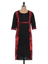 Cotton Black With Red Paneled Printed Kurta - SHREE