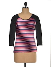 Striped Full Sleeve Poly Blend Top - KAXIAA