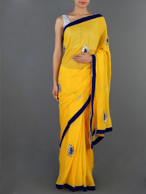 Georgette Gota Patti Hand Work Saree - Rajasthani Sarees - 1017625