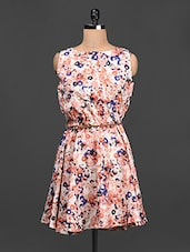 Boat Neck Floral Print Crepe Dress - LA ARISTA
