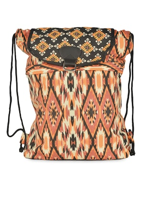 Brown Ikat Print Drawstring Backpack
