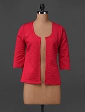 Quarter Sleeves Solid Polyester Jacket - Bella Rosa