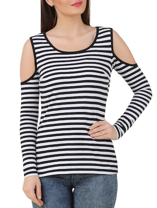 black and white stripes cotton blend top