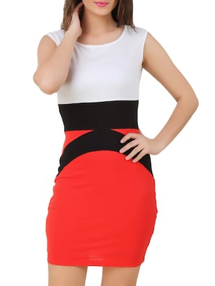 red,white cotton jersey bodycon dress