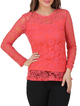 coral cotton laced top
