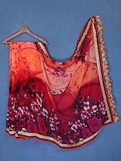 Gota Border Floral Print Art Silk Saree - Saraswati